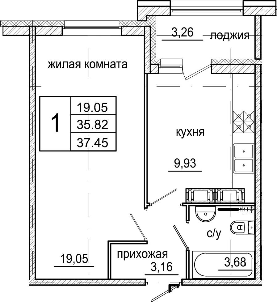 1-комнатная, 37.45 м²– 2