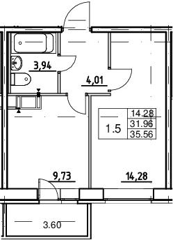 1-к.кв, 31.96 м²