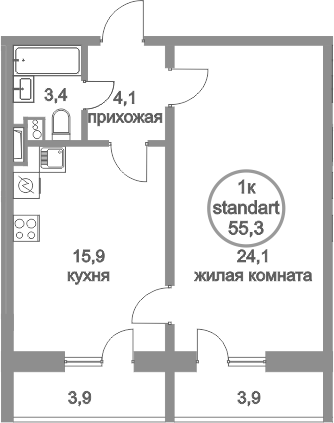 2Е-комнатная, 55.3 м²– 2