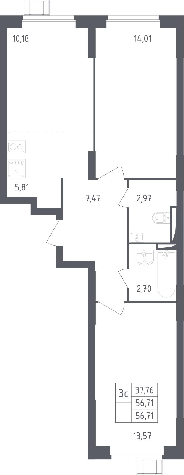 3Е-комнатная, 56.71 м²– 2