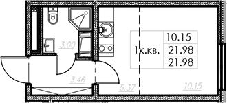 Студия, 21.98 м²– 2