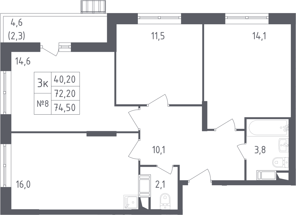 4Е-к.кв, 75.1 м²