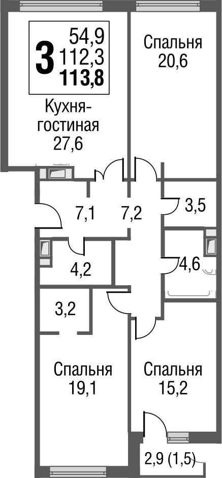 4Е-к.кв, 113.4 м²