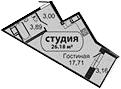Студия, 24.78 м²
