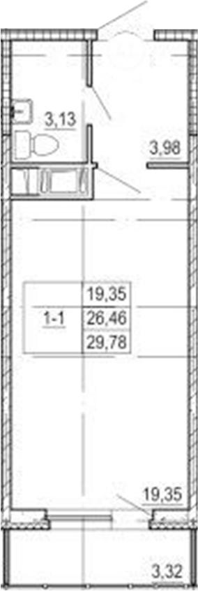Студия, 26.46 м²– 2