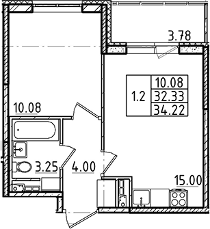 2Е-к.кв, 32.33 м²