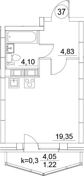 Студия, 29.5 м², 17 этаж