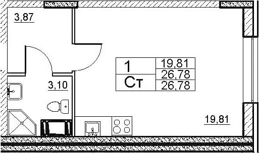 Студия, 26.78 м², 1 этаж – Планировка