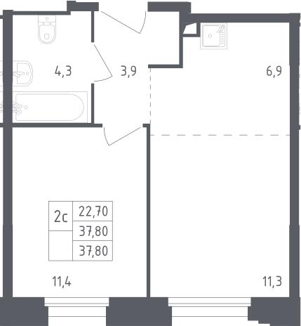 2Е-комнатная, 37.8 м²– 2