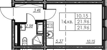Студия, 21.96 м²
