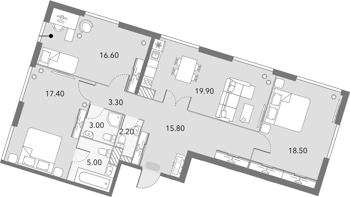 4Е-комнатная, 101.7 м²– 2