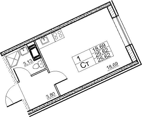 Студия, 25.62 м²