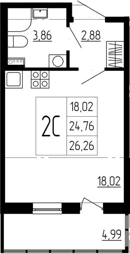 Студия, 29.75 м²