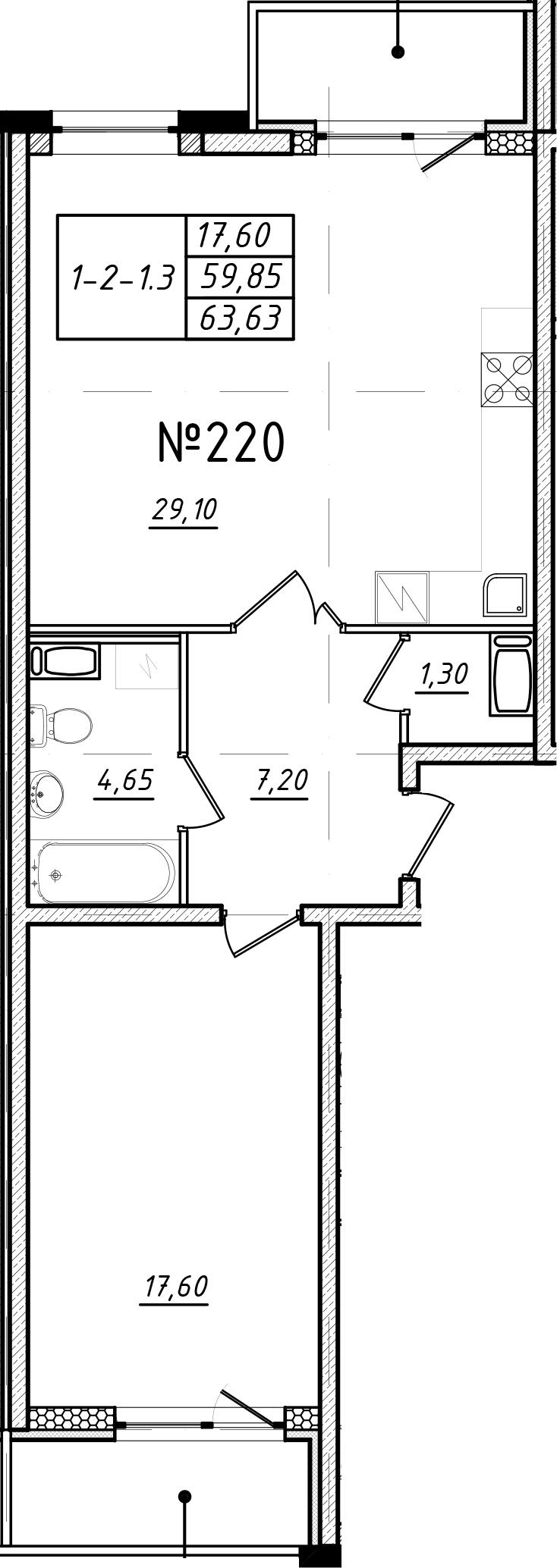 2-к.кв (евро), 67.41 м²