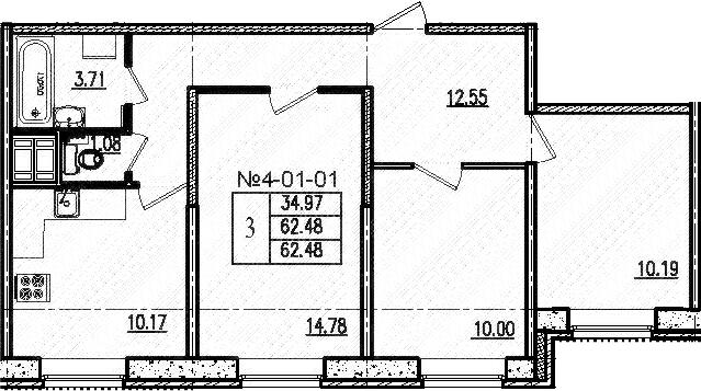 3-к.кв, 62.48 м²