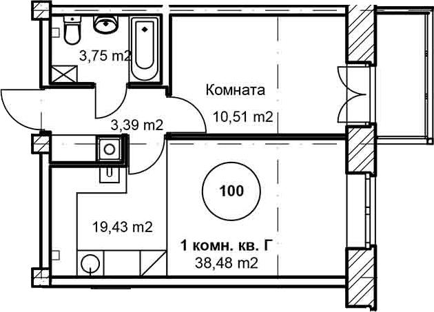 2Е-комнатная, 38.1 м²– 2