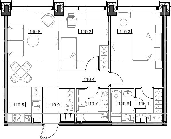 3Е-комнатная, 65.14 м²– 2