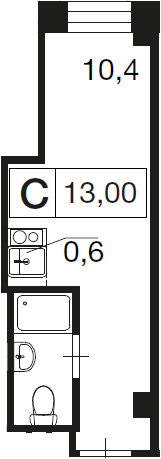 Студия, 13 м²– 2