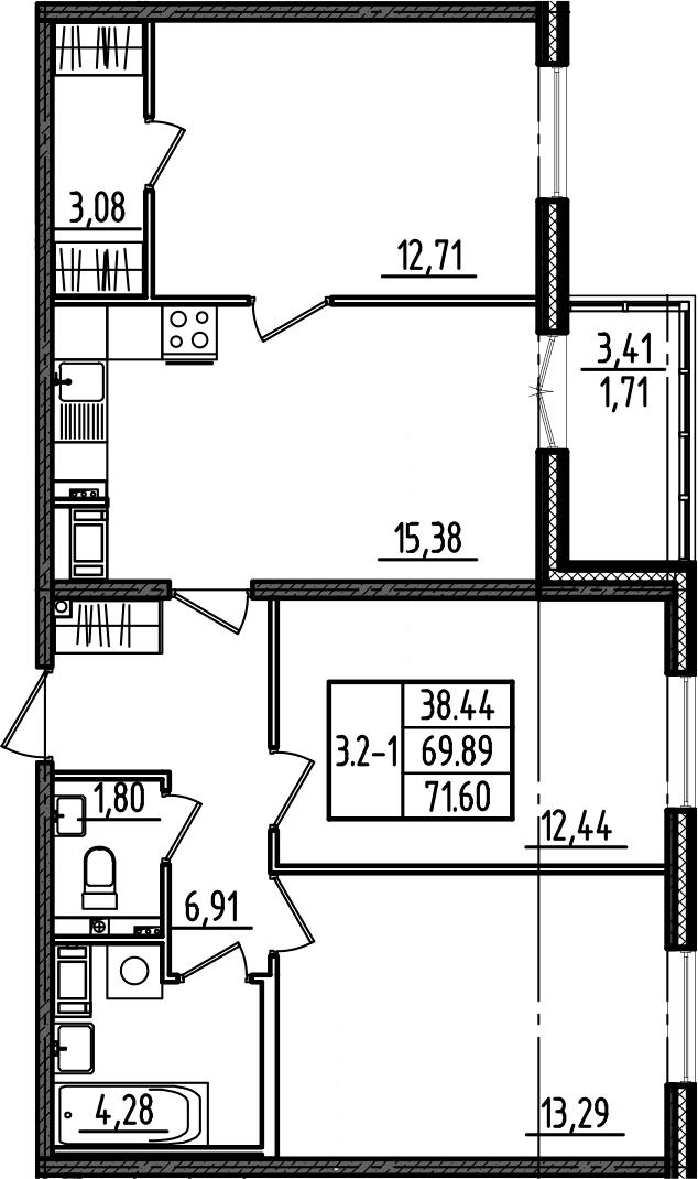4Е-комнатная, 71.6 м²– 2