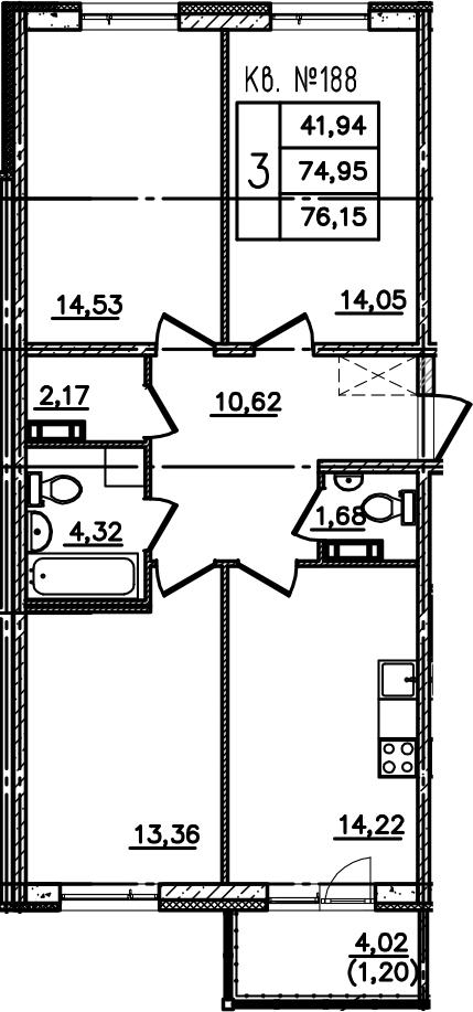 3-к.кв, 78.96 м²