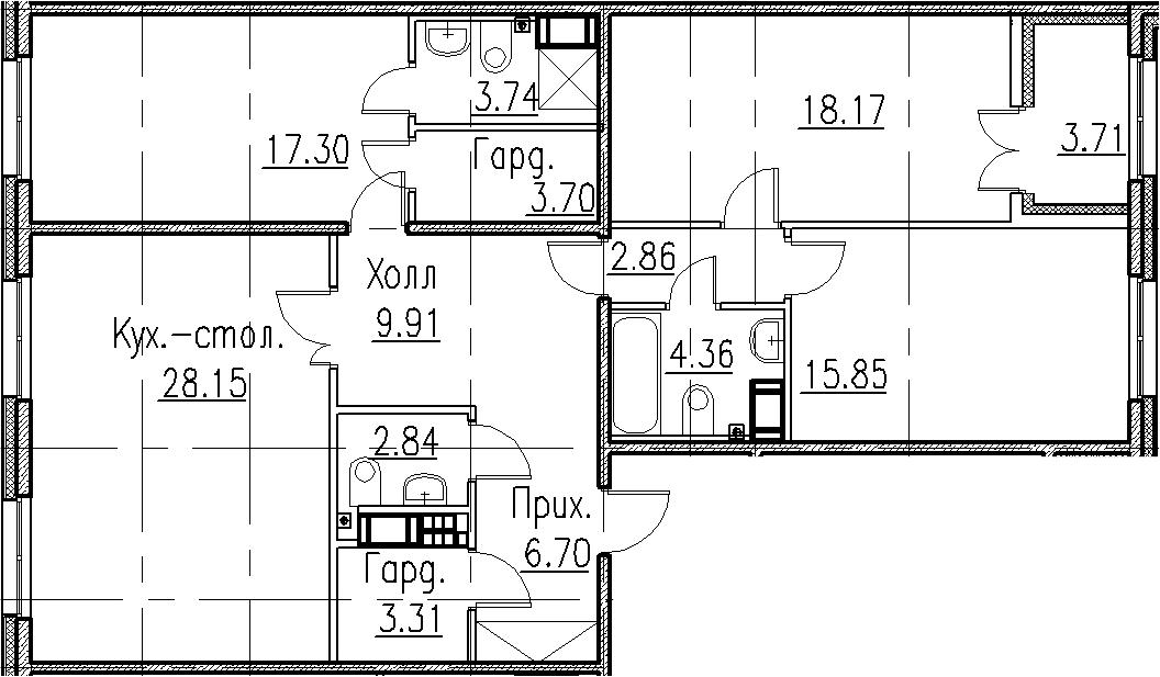 4Е-к.кв, 116.89 м², 7 этаж