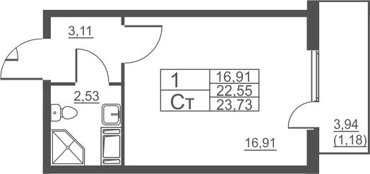 Студия, 23.73 м²