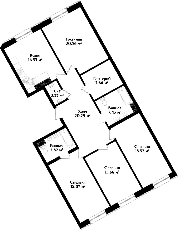 5Е-комнатная, 132.27 м²– 2