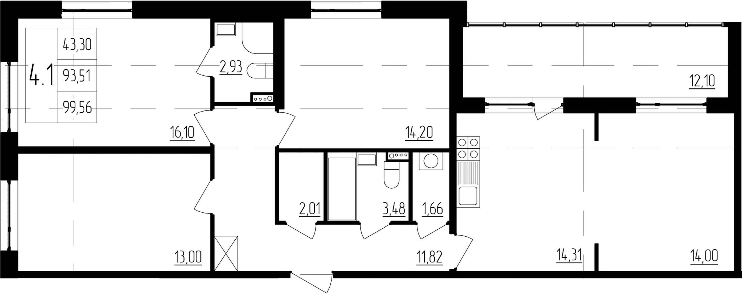 4-к.кв (евро), 105.61 м²
