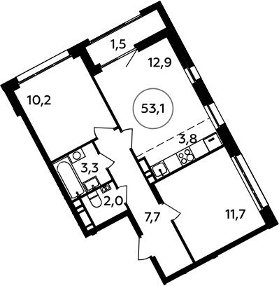 3Е-к.кв, 53.1 м², 9 этаж