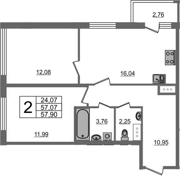 3-к.кв (евро), 59.83 м²