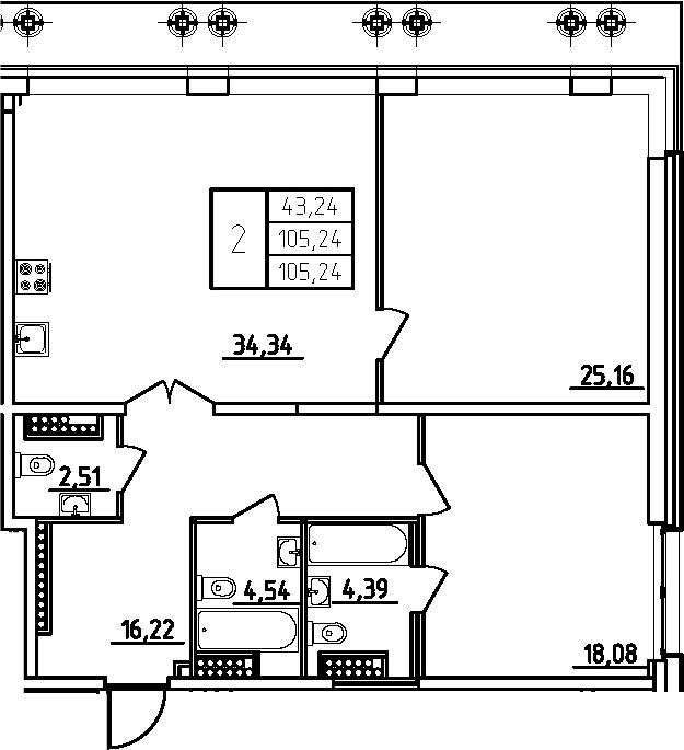 3Е-комнатная, 105.24 м²– 2