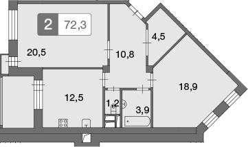 2-к.кв, 72.3 м²
