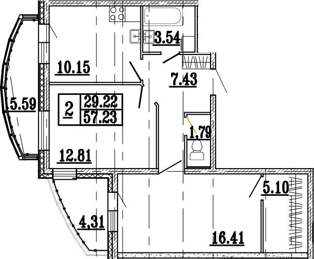 2-к.кв, 67.14 м²