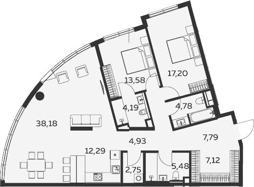 3Е-комнатная, 121.42 м²– 2
