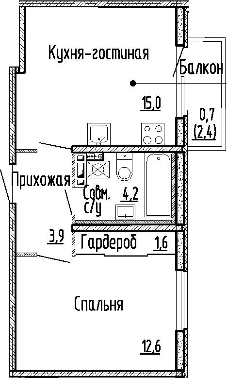 2Е-к.кв, 37.3 м², 4 этаж