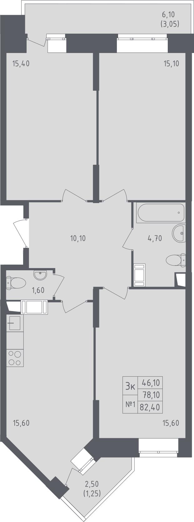 3-к.кв, 82.4 м²