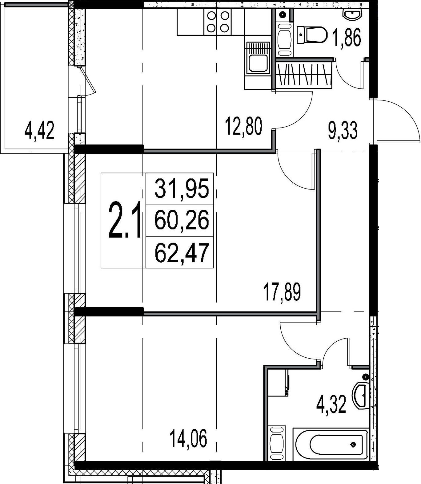 2-комнатная, 60.26 м²– 2