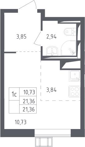 Студия, 21.36 м²– 2