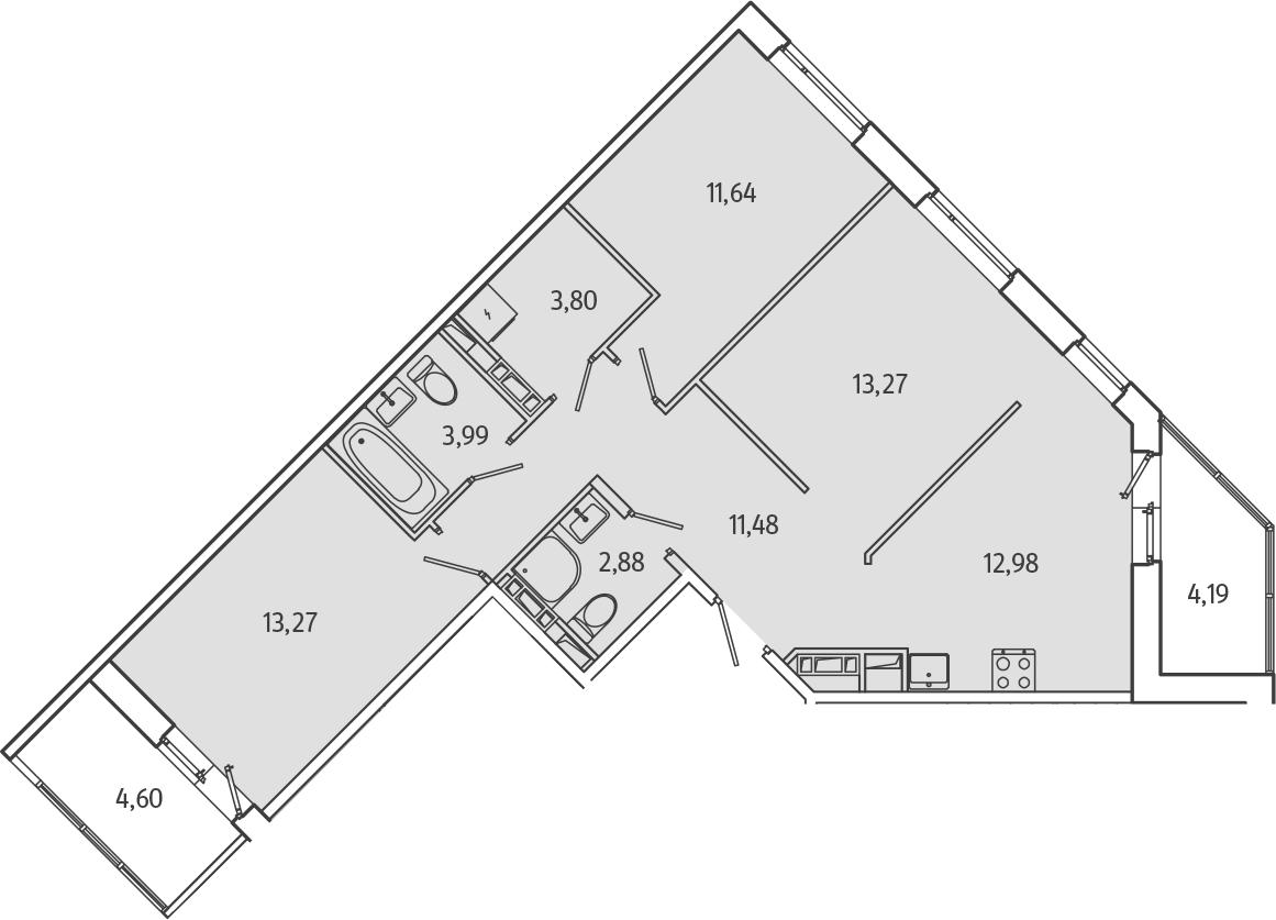 3-к.кв, 77.71 м², от 3 этажа