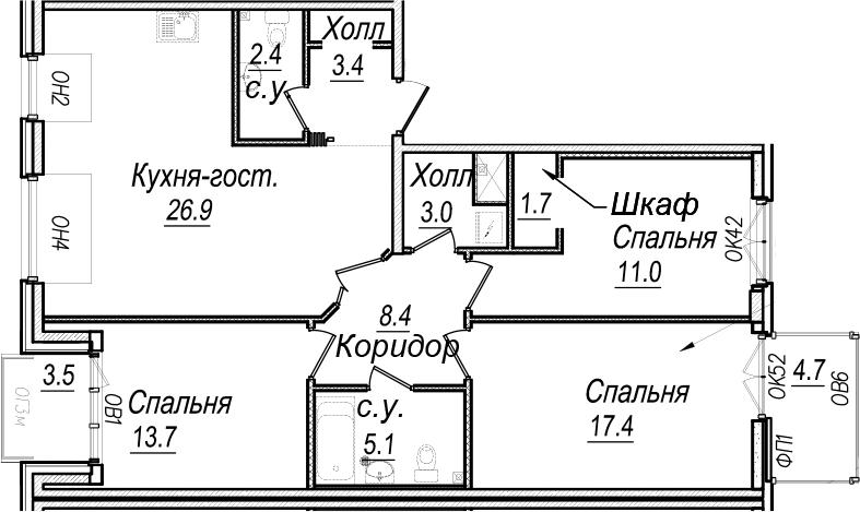 4Е-к.кв, 101.2 м²