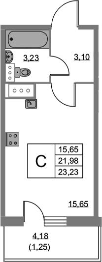 Студия, 23.23 м², 19 этаж