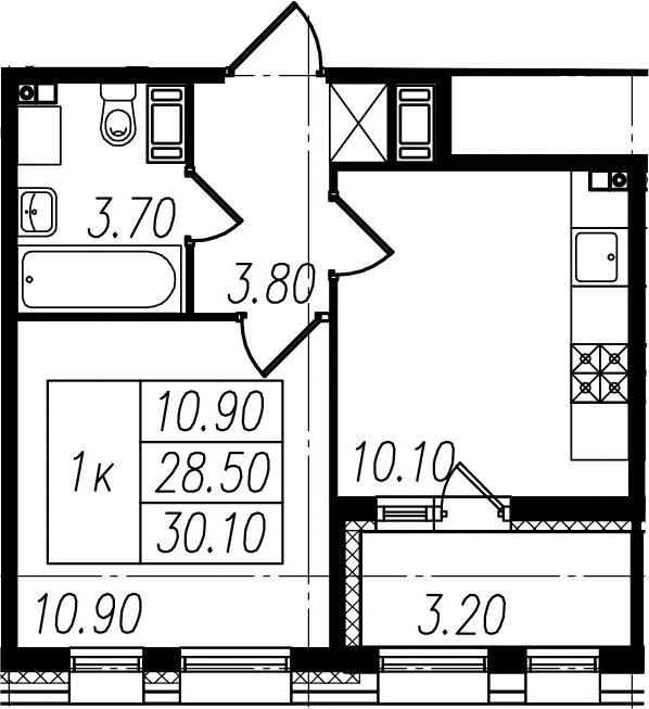 1-к.кв, 28.5 м², 10 этаж