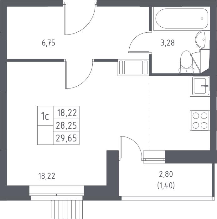 Студия, 29.65 м²– 2