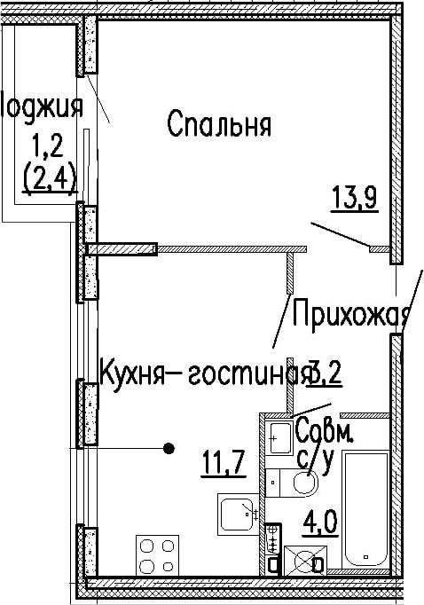 1-к.кв, 32.8 м², 1 этаж
