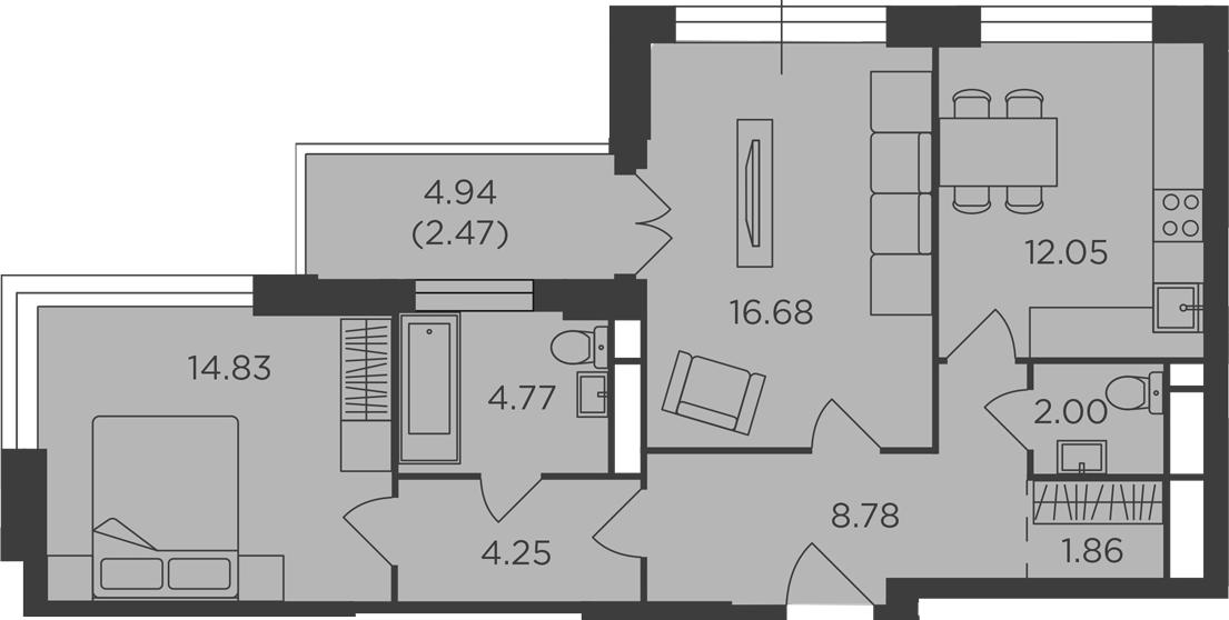 2-к.кв, 67.69 м², 16 этаж