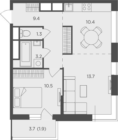 2Е-к.кв, 50.5 м², 23 этаж