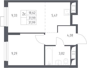 2Е-к.кв, 31.99 м²