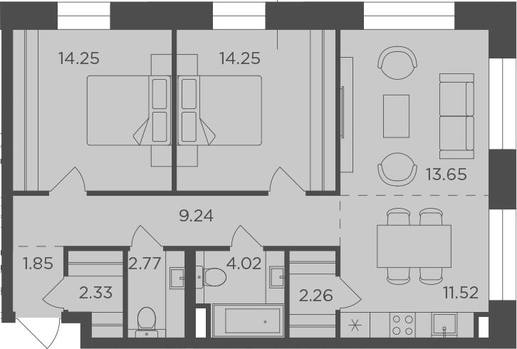 3Е-комнатная, 76.14 м²– 2