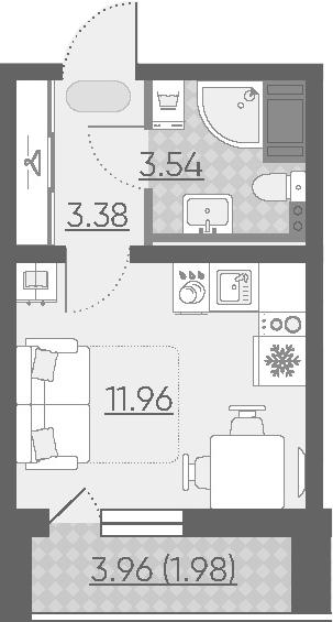 Студия, 20.86 м²