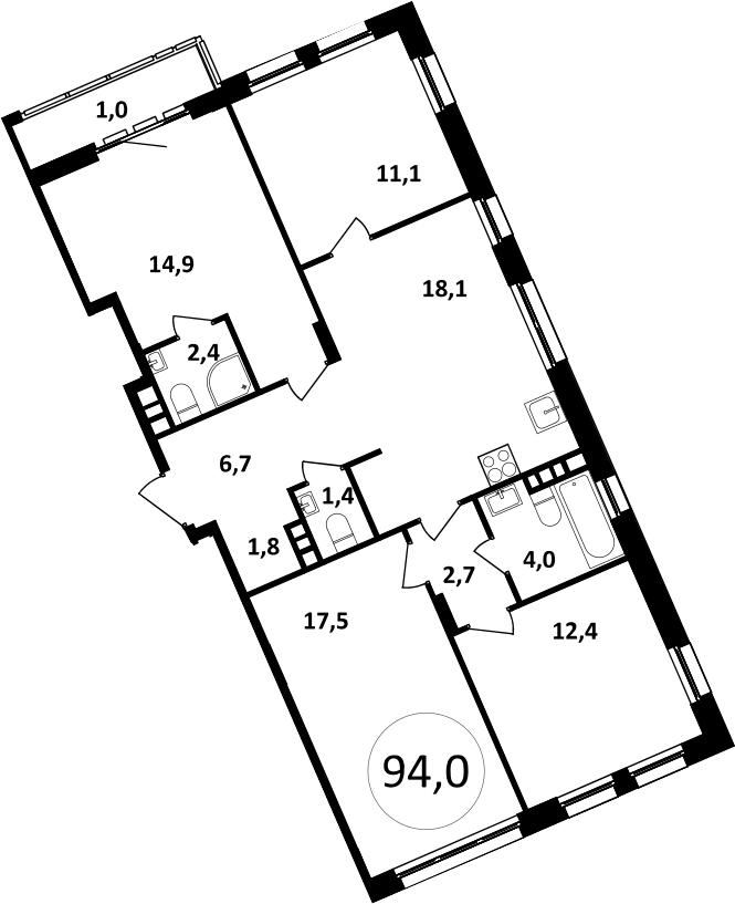 5Е-комнатная, 94 м²– 2